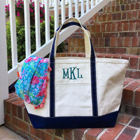 Monogrammed Canvas Boat Tote - Navy
