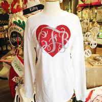 Monogrammed Longsleeve Glitter Heart Tee