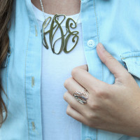 XL Sterling Silver Monogram Elizabeth Necklace