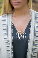 XL Sterling Silver Interlocking Monogram Necklace