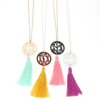 Acrylic Scallop Monogram Necklace with Tassel