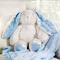 (A) Mudpie Monogrammed Plush Minky Bunny - Blue