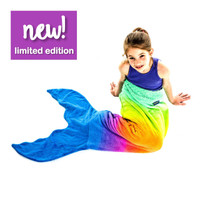 (G) Personalized Blankie Tail - Rainbow Ombre Mermaid