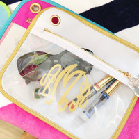 Blakley Medium Clear Organizer - White/Gold