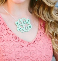 (A) XL Acrylic Interlocking Monogram Necklace