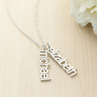 Sterling Silver Vertical Modern Name Necklace