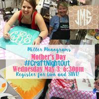 Wednesday May 3 | #CraftNightOut Monogram Paint Party Class