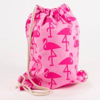 Monogrammed Kids Drawstring Bag -Flamingo