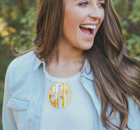 (A) XL Acrylic Circle Monogram Necklace