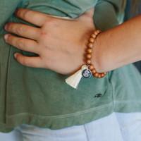 Wood Tassel Monogram Bracelet