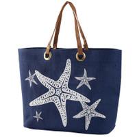 Monogrammed Tideline Tote - Navy Starfish