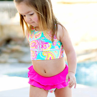 Monogrammed Girls Paisley Swimsuit