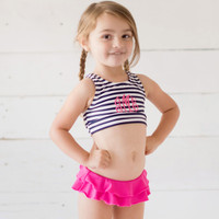 Monogrammed Girls Prep Stripe Swimsuit