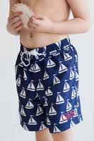 Monogrammed Boys Sail Away Swim Trunks