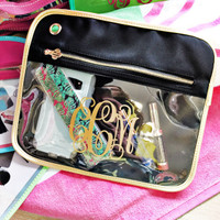 Blakley Large Clear Organizer - Navy/Gold