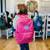 Monogrammed Pink Backpack