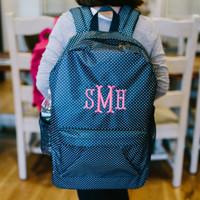Monogrammed Navy Backpack