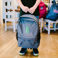Monogrammed Grey Backpack
