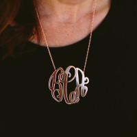 XL Rose Gold Monogram Elizabeth Necklace
