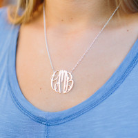 Medium Sterling Silver Elizabeth Monogram Necklace