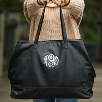 Monogrammed Cambridge Travel Bag - Black