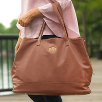 Monogrammed Cambridge Travel Bag - Camel