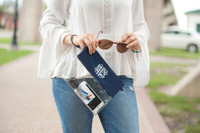 Monogrammed Navy Clear Zip Pouch