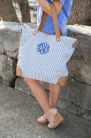 Monogrammed Navy Seersucker Shoulder Bag