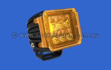 Amber translucent Lens cover with the printed Rigid industries logo on the cover
