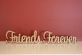 10cm tall Freestanding wooden word phrase sign Friends Forever