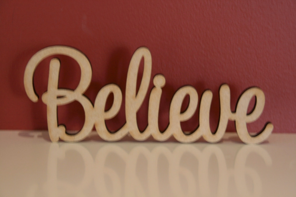 10cm Tall Free Standing Wooden Word Believe