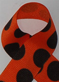 Orange / Black Large Polka Dots