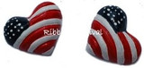 Patriotic Heart Flat Back Resins
