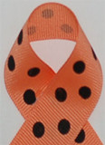 Apricot and Black Polka Dots