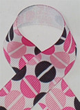 Split Pea Pink and Black Grosgrain Ribbon
