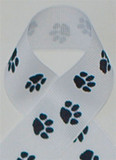 White with Black Paws Grosgrain Ribbon