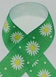 Green Daisies Grosgrain Ribbon