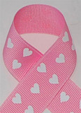 Pink With White Hearts Grosgrain Ribbon
