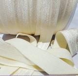 Ivory Fold Over Elastic Ribbon   Elastic Ribbon