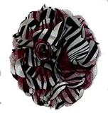 Rosette Zebra Chiffon Fabric Flowers