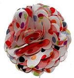 Red Rosette Multi color Polka Dots Flower