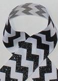 Black Glitter Chevron Grosgrain Ribbon