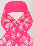 Bright Pink Glitter Printed Daisy Craft Ribbon