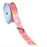 Princess Pink Scroll Printed Ribbon