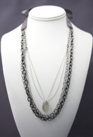 Gray Sea Glass, Gunmetal, and Sterling Layered Ribbon Necklace