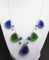 Blue and Green Net Weave Necklace