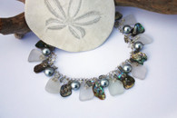 White Sea Glass and Abalone Cluster Charm Bracelet