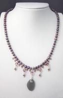 Gray Sea Glass Pearl Strand Necklace