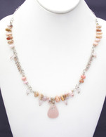 Pink Sea Glass & Pink Opal Necklace