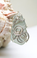 Ice Blue Sea Glass Sterling Wrapped Pendant